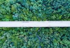 Vogelperspektive eines weißen Autos, das eine hohe Brücke, grünen Wald kreuzt Lizenzfreie Stockfotos