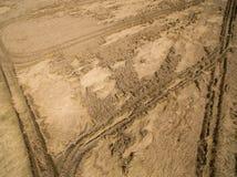 Vogelperspektive eines Weizenfeldes gebrochen durch den letzten Regen mit einem Gewitter Zerstörung von Getreideernten Stockbild