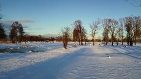 Vogelperspektive: Fliegen über den Park bedeckt mit Schnee während des Sonnenuntergangs stock video