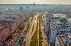 Vogelperspektive Gdansks Przymorze stockbild