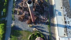 Vogelperspektive-Gebäude-Fabrik-Demolierung stock video