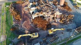 Vogelperspektive-Gebäude-Fabrik-Demolierung stock video footage
