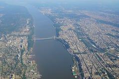 Vogelperspektive George Washington Bridges zwischen New York und New-Jersey lizenzfreie stockfotografie