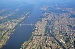 Vogelperspektive George Washington Bridges zwischen New York und New-Jersey lizenzfreie stockbilder