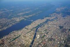 Vogelperspektive George Washington Bridges zwischen New York und New-Jersey lizenzfreies stockbild