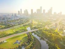 Vogelperspektive-Houston-Stadtzentrum und vierter Bezirkbezirk Lizenzfreie Stockfotos