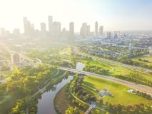 Vogelperspektive-Houston-Stadtzentrum und vierter Bezirkbezirk Lizenzfreies Stockbild