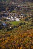 Vogelperspektive ländlicher Vermont-Stadt. Stockbild