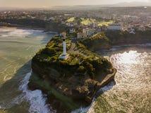 Vogelperspektive-Leuchtturm in Biarritz, Frankreich lizenzfreie stockfotografie