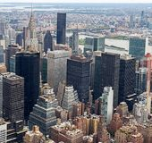 Vogelperspektive Manhattans Skyscraprers, Stockbild