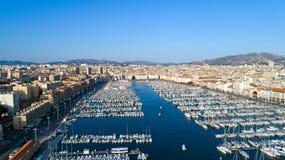 Vogelperspektive Marseille-` s alten Hafens lizenzfreies stockfoto