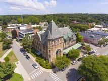 Vogelperspektive Newton, MA, USA der historischen Gebäude lizenzfreie stockfotos