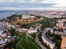 Vogelperspektive an Nizhny Novgorod-Stadtzentrum stockfotos