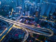 Vogelperspektive schöner Kuala Lumpur-Stadt stockbilder