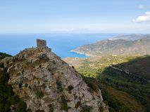 Vogelperspektive Seneca Towers, Korsika, Frankreich Lizenzfreie Stockfotos
