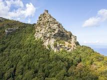 Vogelperspektive Seneca Towers, Korsika, Frankreich Stockbild