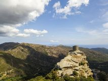 Vogelperspektive Seneca Towers, Korsika, Frankreich Stockfoto
