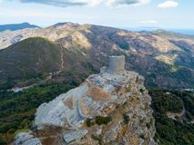 Vogelperspektive Seneca Towers, Korsika, Frankreich Lizenzfreies Stockfoto
