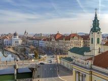 Vogelperspektive vom Rathausturm über Oradea-Stadtmitte, Ro lizenzfreies stockfoto
