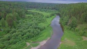 Vogelperspektive vom schönen russischen Fluss gelegen zwischen grüner Wiese und Mischwald gegen bewölkten Himmel im Sommertag stock video