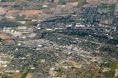 Vogelperspektive von Ackerland-Erntefeldern in USA Lizenzfreies Stockbild