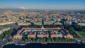 Vogelperspektive von Admiralität in St Petersburg Stockbild