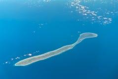 Vogelperspektive von Agalega-Inseln vom Jet-Flug Lizenzfreies Stockbild
