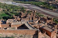 Vogelperspektive von Ait Ben Haddou-kasbah, Marokko Lizenzfreie Stockfotos