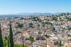 Vogelperspektive von Albaicin, Granada stockbilder