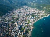 Vogelperspektive von altem Budva in Montenegro Stockfoto