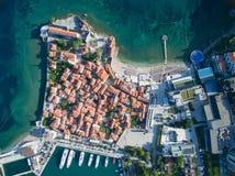 Vogelperspektive von altem Budva in Montenegro Lizenzfreie Stockfotografie
