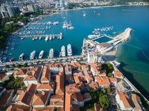 Vogelperspektive von altem Budva in Montenegro Lizenzfreie Stockbilder