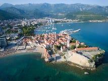 Vogelperspektive von altem Budva in Montenegro Stockbilder