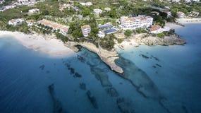 Vogelperspektive von Anguilla-Strand Lizenzfreies Stockbild