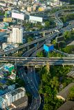 Vogelperspektive von Bangkok-Stadtstraßen und -verkehr Lizenzfreie Stockbilder