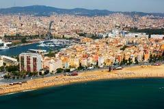 Vogelperspektive von Barceloneta von Mittelmeer Barcelona Stockbild