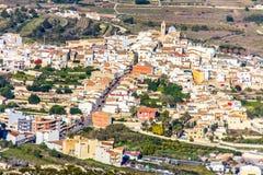 Vogelperspektive von Benitatxell-Dorf in Spanien stockfotos