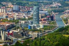 Vogelperspektive von Bilbao-Stadt, Spanien lizenzfreie stockfotos