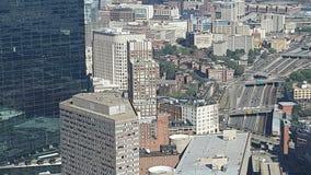 Vogelperspektive von Boston-Wolkenkratzern stock video footage