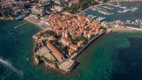 Vogelperspektive von Budva in Montenegro, alte Stadt Lizenzfreies Stockbild