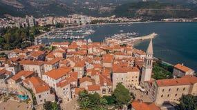 Vogelperspektive von Budva in Montenegro, alte Stadt Lizenzfreie Stockfotografie