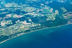 Vogelperspektive von Bundaberg und von großer Sandy Marine Park Lizenzfreie Stockfotografie