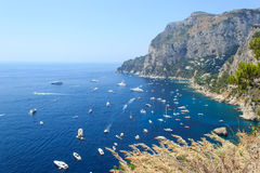 Vogelperspektive von Capri-Insel, Italien Stockbilder