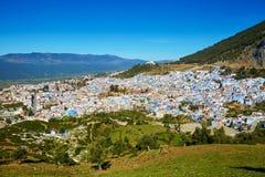 Vogelperspektive von Chefchaouen, Marokko lizenzfreie stockfotografie