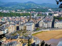 Vogelperspektive von Concha Beach San Sebastian, Spanien Lizenzfreies Stockfoto