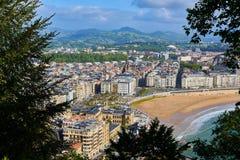 Vogelperspektive von Concha Beach San Sebastian, Spanien Lizenzfreie Stockfotos