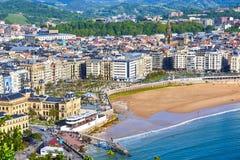 Vogelperspektive von Concha Beach San Sebastian, Spanien Lizenzfreies Stockbild
