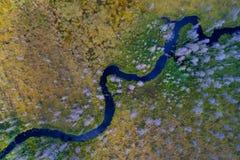 Vogelperspektive von curvy Waldfluß Stockfotografie