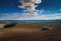 Vogelperspektive von den Traktoren, die an dem Erntefeld arbeiten Stockfoto