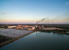 Vogelperspektive von der Brummenzuckerfabrik mit Abwasserbehandlung Stockfotografie